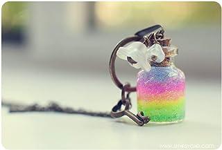 collana bottiglia arcobaleno, ciondolo fiala di vetro, gioielli bottiglia, collana arcobaleno, ciondolo in bottiglia in mi...