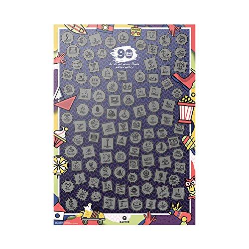 Qapter Rubbelkarte Familie - 99 Dinge, die ich mit meiner Familie machen möchte - Bucketliste als Rubbelposter, Poster ist mehrfarbig, 84 x 59,5 x 0,1 cm groß