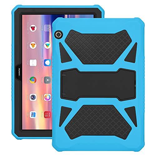 Eastcoo Schutzhülle für Huawei MediaPad T5 10, 3-Schicht weiches TPU, robuster & harter PC-Ständer Ständer Stoßfester Beweis Hybrid Heavy Duty Silikonhülle für Kinder (Blau undSchwarz)