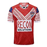 AFDLT 2018-19 Coupe du Monde Tonga Home,Rugby Jersey,Polo Shirt,Summer Sports Loisirs T-Shirts,Hommes Respirant Maillot de Football,Red,L