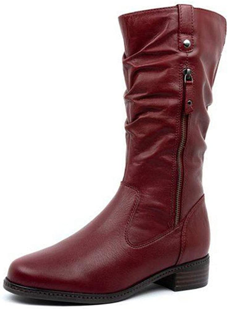 Women's Motorcycle Double Zipper Mid Calf Western Style Cowboy Knight Boots