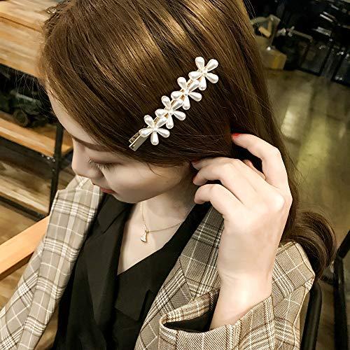 Sanwood Faux perle en épingle à cheveux, pince à cheveux pince à cheveux barrette florale Vintage femmes Barrette Quatre fleurs