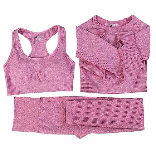 Nahtlose Frauen Yoga-Anzug Langarm Mantel Weste Gamaschen Fitnessanzug 3pcs Gym Sportbekleidung Set, Rosa, Small Size