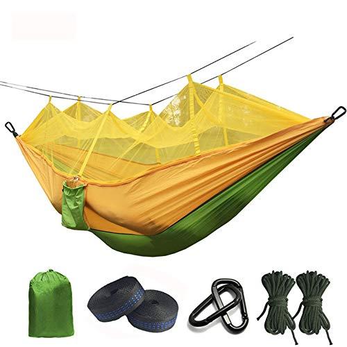 hamac CDFSG Hamac De Parachute Anti-Moustique Ultra-léger avec des Piqûres Anti-moustiques pour des Tentes De Camping Extérieures 260x140cm Vert et Jaune