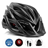 MOKFIRE Adult Bike Helmet with Rechargeable USB Light, Bicycle Helmet CPSC Certified for...