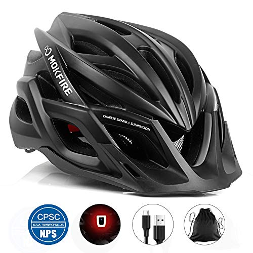 MOKFIRE Adult Bike Helmet with Rechargeable USB...
