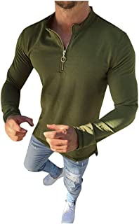 Men's Stand Collar 1/4 Zip Top Long Sleeve Solid Simple Casual Slim Fit Shirt