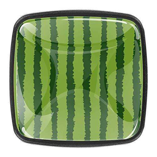 4 pomos de cristal para puerta de armario y cajón, con fondo verde