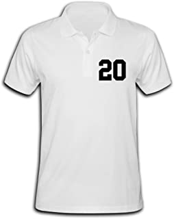 Lofy52ywh Men's Number 20 Solid Short Sleeve Pique Polo Shirt