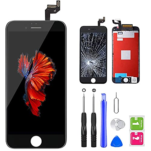 QTlier iPhone 6s Screen Replacement 4.7' Black,LCD Display & Touch Screen Digitizer with 3D Touch Full Assembly Set for iPhone 6s 4.7 inch with Repair Tool kit