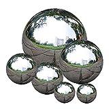 Newin Star Acier Inoxydable Gazing Boule Transparente Gazing Globe Poli Miroir réfléchissant Boule Creuse Sphère de Jardin 6 PCS Poli Miroir Boule Creuse
