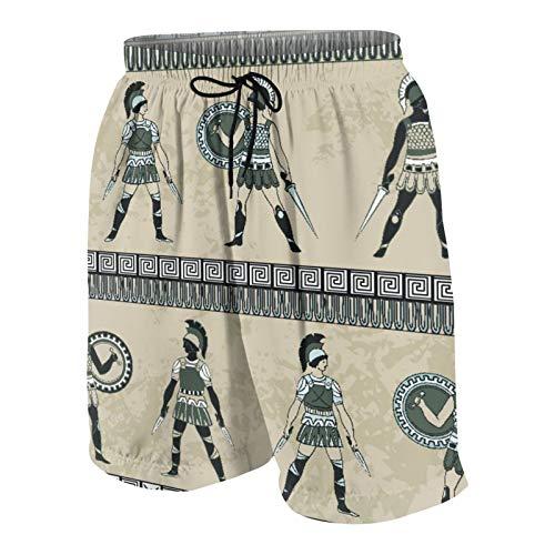 NOLOVVHA Hombres Personalizado Trajes de Baño,Antigüedad con los Luchadores griegos Antiguos y la Armadura de época étnica Tradicional,Casual Ropa de Playa Pantalones Cortos