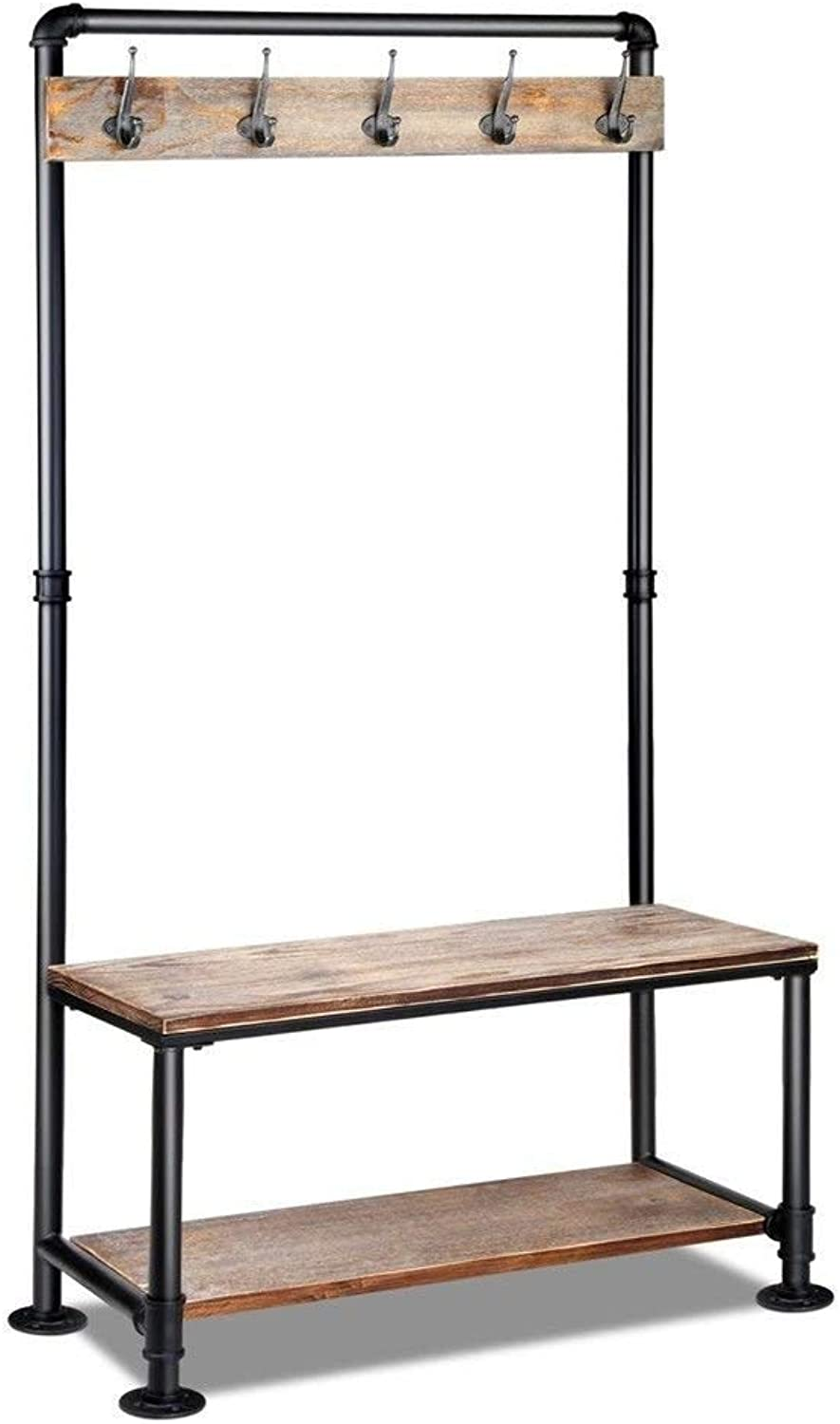 Diwhy Industrial Pipe Clothing Rack Pine Wood Shelving shoes Rack Cloth Hanger Pipe Shelf (Black)