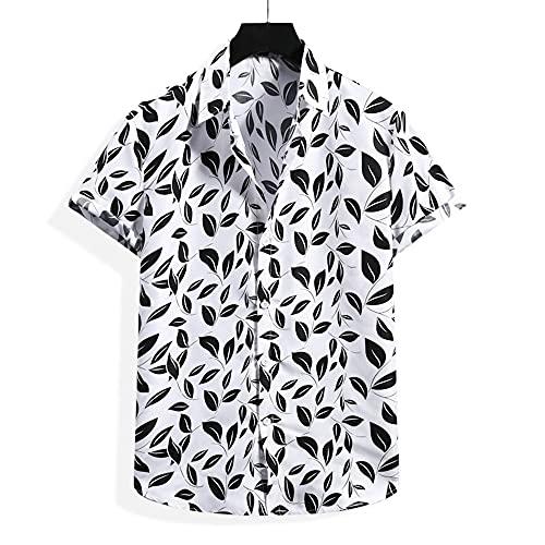 Shirt Hombres Transpirable Básico Botón Placket Hombres Shirt Ocio Regular Fit Summer Creative Print Manga Corta Hombres Playa Shirt Trend Daily Hombres Shirt Hawaiana G-White M