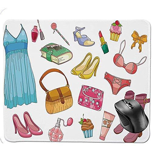 25X30CM Mauspad, modische mädchenhafte Artikel Cartoon-Stil Kosmetikstiefel Cupcakes Lippenstift...
