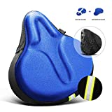 AceList Soft&Comfortable Bike Seat Cushion for Women or Man, Fits Stationary Bike, Cruiser Bike, Beach Cruiser, Indoor Cycle, Exercise Bike (with Waterproof Cover)-Blue