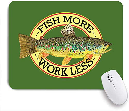 KGSPK Gaming Mouse Pad Fishing Brook Trout Angling Fly Fish Fisherman Fishermen Design Non-Slip Rubber MouseMat Custom for Office School Home Laptops PC Desktop Computer Mouse Pads