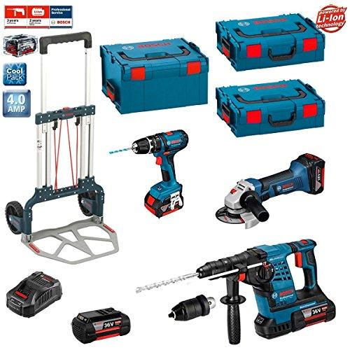 Bosch Kit RSL3618M2 + Caddy (GBH 36 VF-LI Plus + GWS 18-125 V-LI + GSB 18-2-LI + 2 x 4,0Ah 36V Li-Ion + 2 x 4,0Ah 18V Li-Ion + L-Boxx 238 + 2 x L-Boxx 136 + GAL3680CV + Caddy)