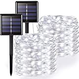 WLL Solar String Light, 200 LED 8 Tipos de Luces solares Super Brillantes, utilizadas para la decoración de la Ventana del árbol de jardín, luz Blanca o luz cálida