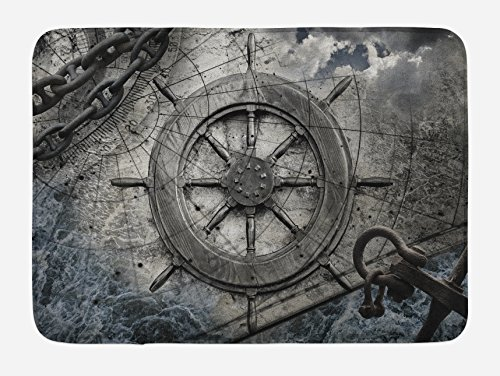 Ambesonne Ships Wheel Bath Mat, Retro Navigation Equipment Illustration with Steering Wheel Charts Anchor Chains, Plush Bathroom Decor Mat with Non Slip Backing, 29.5 W X 17.5 W Inches, Charcoal