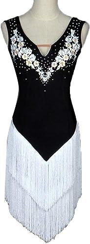 JTSYUXN Costume De Danse De Danse Latine sans Manches Professionnel pour Femmes, Concours De Jupes Latines Jupe à Franges (Couleur   blanc, Taille   XXL)