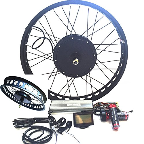3000W Hub Motor Electric Bike Conversion Kit + LCD+ Disc Brake Rear Wheel Theebikemotor (26 4 Fat Wheel + 7 Speed Gear, 72V3000W System)