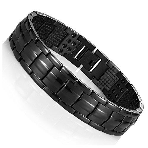 Urban-Jewelry Pulsera de titanio para hombre, color negro, 22 cm, combina con cualquier atuendo, ideal para regalo.