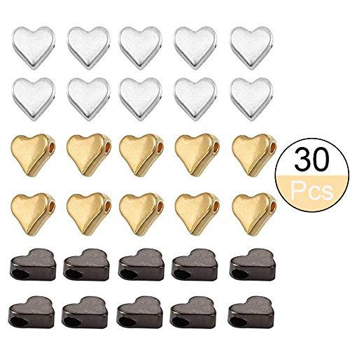 integrity.1 30 Stück Herzperlen,Zwischenperlen für Armbänder, 3Farben Metallperlen Perlen Basteln, für Armband Halskette Schmuckherstellung