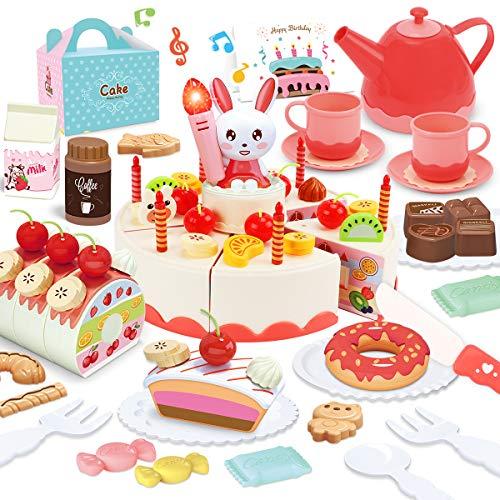 GILOBABY おままごとセット DIYフルーツケーキ 音と光で パン チョコレート キャンディー アフタヌーンティ...