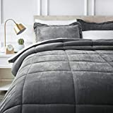 AmazonBasics Ultra-Soft Micromink Sherpa Comforter Bed Set, Full or Queen, Charcoal - 3-Piece