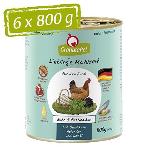 GranataPet Liebling's Mahlzeit Huhn & Pastinaken, Nassfutter für Hunde, Hundefutter ohne Getreide & ohne Zuckerzusätze, Alleinfuttermittel, 6 x 800 g