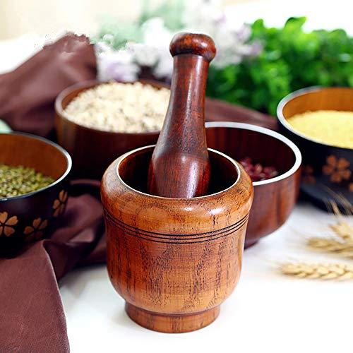 天然木製すり鉢(すりこぎ棒付き)キッチングッズ、調理道具、ニンニクつぶし、スパイスつぶしなど離乳食作成漢方薬研、収納袋付き
