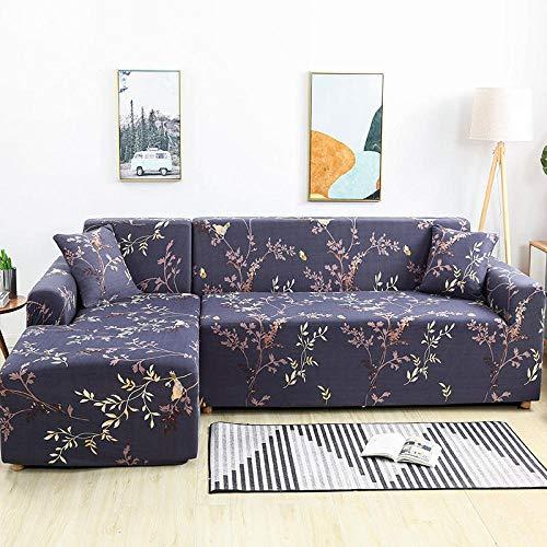 Antideslizante Protector Cubierta de Muebles,Fundas de flores Funda de sofá elástica para sala de estar, Protector de muebles Toalla de sofá N 2 plazas 145-185cm y 4 plazas 235-300cm (2pcs)