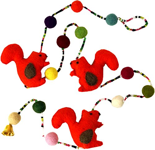 Guru-Shop Deco Ketting, Eekhoorn Ketting, Vilten Slinger - Ontwerp 2, Veelkleurig, Decoratie Voor de Kinderkamer