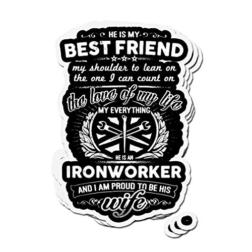 shopdoz 3 PCs Stickers Ironworker's Wife Ironworker 4 × 3 Inch Die-Cut Wall Decals for Laptop Window