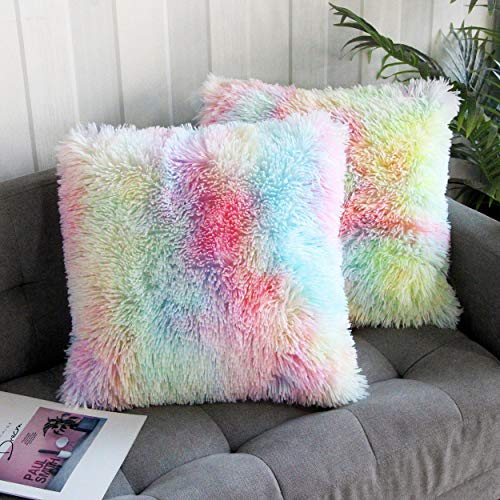 Uhomy 2 Packs Home Decorative Luxury Series Super Soft Faux Fur Throw Pillow Cover Cushion Case for Sofa or Bed Rainbow Unicorn 18x18 Inch 45x45 cm