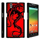 TurtleArmor | Compatible with ZTE ZMAX Case | Z970 [Slim Duo] Two Piece Hard Cover Slim Snap On Case on Black - Red Dragon