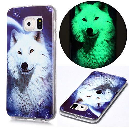 Miagon Leuchtend Luminous Hülle für Samsung Galaxy S7,Fluoreszierend Licht im Dunkeln Handyhülle Silikon Case Handytasche Stoßfest Schutzhülle,Weiß Wolf