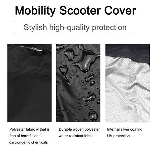 Yinhing Mobility Scooter Cover, Heavy Waterproof Storage Cover Protección para Almacenamiento de sillas de Ruedas contra el Clima Base elástica (170 * 61 * 117 CM)