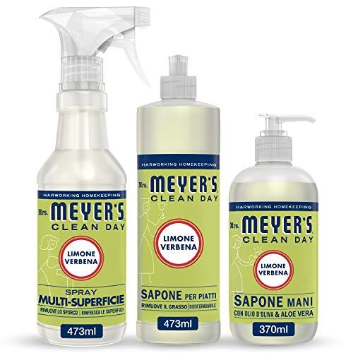 Mrs Meyer's Clean Day - 1 Detersivo Piatti + 1 Spray Multisuperficie + 1 Sapone Mani - Fragranza Limone & Verbena - Prodotti creati con Oli essenziali - 2 x 473 ml + 1 x 370 ml - Set Cucina