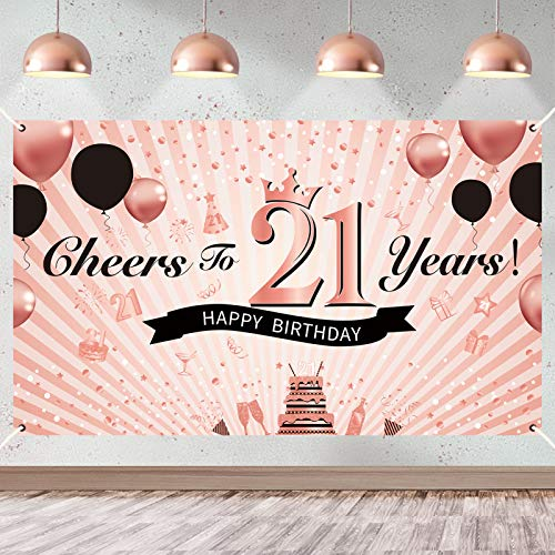 Luxiocio 21st Birthday Decorations for Women - Cheers to 21 Years Banner Backdrop - 21 Years Old Birthday Poster Background Party Supplies for Her(6 x 3.6ft, Rose Gold)