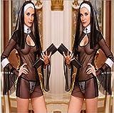 Gdofkh Ropa de Halloween Europea y Americana Ropa de Monja Negro Transparente lencería Sexy Disfraz Femenino tentación