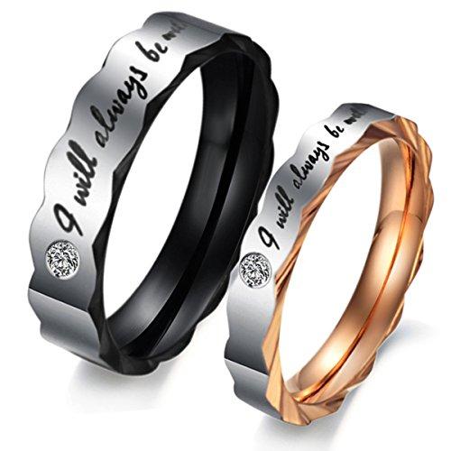 "TEMICO Juego de 2 anillos de compromiso románticos con texto en inglés ""I Will Always Be With You"""