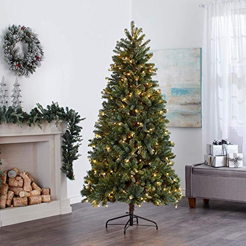 NOMA 6.5 Ft. Pre-lit Artificial Spruce Christmas Tree with 300 Warm White LED Bulbs | 1125 Tips...