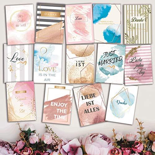 WeddingTree 52 Postkarten Hochzeit - Postkarten Set A6 - für 52 Wochen - kreatives Hochzeitsspiel Gästebuch Gastgeschenk (Aquarell)