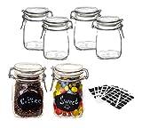 BigDean 6er Set Bormioli Fido Gläser mit Bügelverschluss 1L - inkl. 102 Etiketten + 1 Stift - Lebensmittel einmachen & luftdicht aufbewahren - Vorratsgläser Einmachgläser Draht-Bügelglas