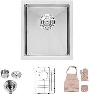 Lordear 15 x17 Inch Undermount Deep Single Bowl 16 Gauge R10 Tight Radius Stainless Steel Kitchen Sink