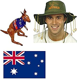 Blue Planet Online Australian Cork Hat, Flag and Inflatable Kangaroo Fancy Dress Kit