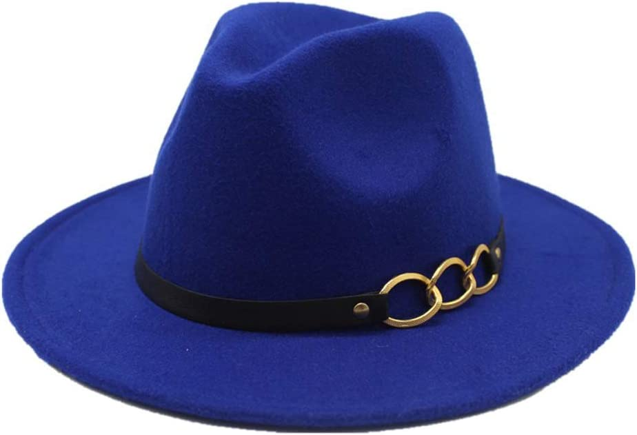 HXGAZXJQ 2019 Men Women Fedora Hat Wool Leather Bandwidth Metal Chain Fedora Top Jazz Hat European American Hat (Color : Blue, Size : 56-58cm)