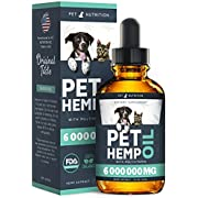Hеmp Oil Dogs Cats - Helps Pets with Anxiety, Pain, Stress, Sleep, Arthritis, Seizures Relief - Hip Joint Health - 100% Natural Pure Drops, Organic Calming Treats (Black)